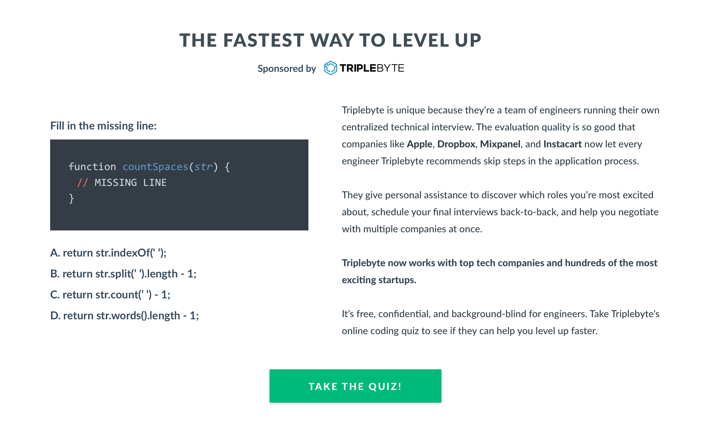 Triplebyte: The Fastest Way to Level Up